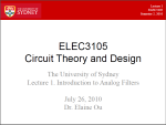 elec3105. Circuit theory and design