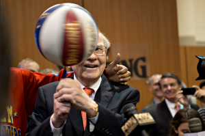 Warren Buffett spinning a basketball