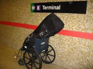 I had some heavy bags to carry. Travel tip: smarte cartes cost $5, but wheelchairs are free, and I am going straight to hell.