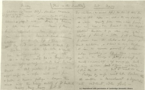 charles darwin marriage notes
