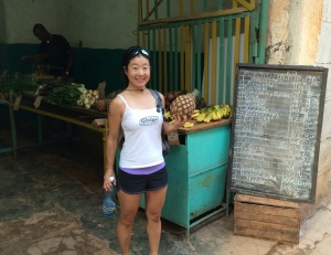 I got a pineapple for 10 pesos, or 40 cents USD. Bananas are 2 cents each.